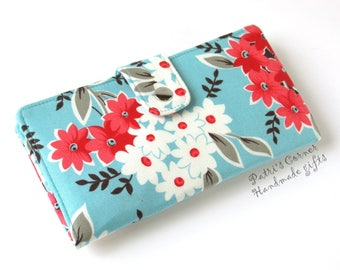 Handmade womens wallet clutch - Red and white floral bouquet on aqua background - Ready to ship - purse - Gift for her  - ID clear pocket
