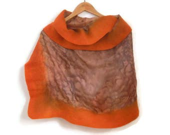 felted silk shawl, orange brown