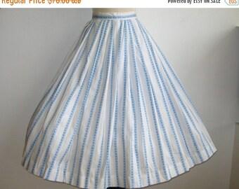 HOLIDAY SALE Vintage 50s Blue Cotton Ribbon Novelty Print Full Skirt Rockabilly Afternoon Picnic Skirt