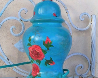 Shabby chic hand painted table lamp, accent lamp, bohemian decor, gypsy lamp, girls room,cottage chic, rose art,  boho chic ceramic lamp