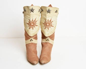 Vintage 80s Brown and Beige Sun Pirate Boots / 1980s Star Studded Cotton Leather Boots 9
