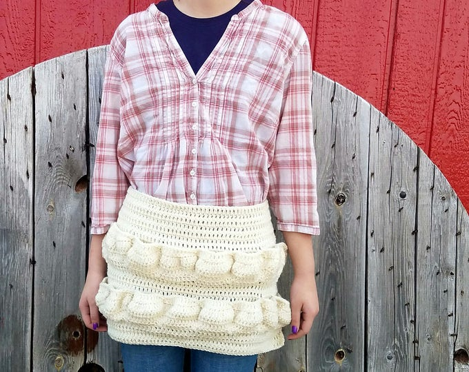 You pick the colors,Original Egg Apron,Egg Gathering Apron,Crochet Half Apron,Made to Order in Your Colors,Egg Collecting,Egg Gathering