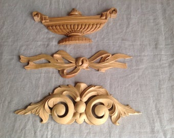 Vintage mouldings. Wooden Decorative fittings, Classical Style / French Home Decor. Bowl, Urn, Acanthus Fittings Floral Swags