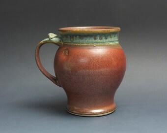Pottery beer mug,  ceramic mug, extra large stoneware stein, iron red 28 oz 3746