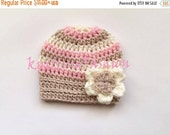 ON SALE 15% SALE Newborn Baby Girl Striped Hat _ Crochet Baby Girl Hat _ NewBorn Baby Hospital Hat _ Photo Props Baby Hat