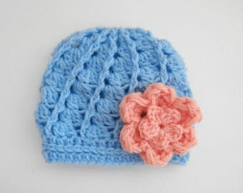 Baby Girl Hat _ Crochet Baby Girl Beanie _ NewBorn Baby Girl Hospital Hat _ Photo Props Baby Hat