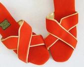 50% OFF SALE Vintage 1960's Retro Orange Slippers / Daniel Green Ladies House Slip-On Shoes Size 7 Woman's Sandals