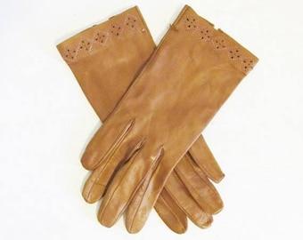 40% OFF SALE Vintage 1950's Brown Soft Kid Leather Wrist Gloves