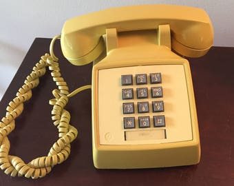Yellow Bell Systems Push Button Phone- Vintage Western Electric Yellow Phone - Working