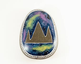 Space Mountain, Hand Painted Stone, Hand Painted Rock, Painted Garden Stone, Painted Rock, Ready To Ship, Mountain Painting