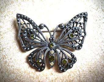 Green rhinestone butterfly vintage brooch