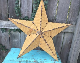 Vintage Rusty Metal Star, Industrial Star, Yellow Painted Star, Vintage Farmhouse Star