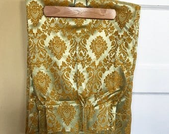 Vintage 1970s Damask Curtains, Vintage Gold Damask Fabric, Pleated Curtain Panels, One Panel