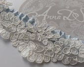 Lace wedding garter. Something blue luxury silk and  Lace Bridal garter