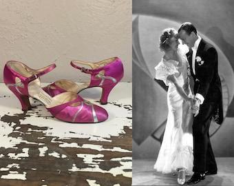 Boldly We Dance - Vintage 1930s Fuchsia Silk Satin & Silver Wedding Evening Open Vamp High Heels Pumps Shoes -7/7.5
