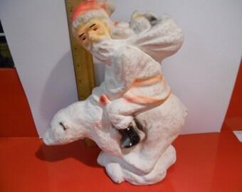 Antique paper mache Santa on polar bear, , egg carton Santa, Vintage paper mache Santa, old Santa, candy container santa