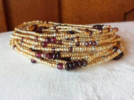 Garnet and Gold Long Seed Bead Wrap Bracelet - January Birthstone