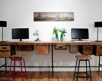 Custom Office Furniture, Harvest Wood L Desk and Work Stations-choice of style, size, wood thickness/finish. Custom orders 4-5 weeks