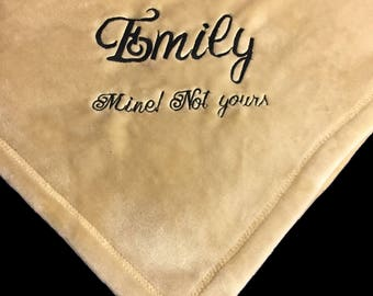 Embroidered Blanket 5'x6'-Solid Colors-Personalized Monogrammed Blanket-Plush Oversized -Very soft Adult Throw-Custom Christmas Gift