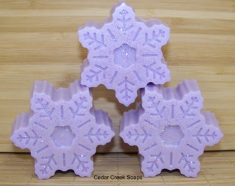 Snowflake Soap Lavender Snowflake Soaps Holiday Stocking Stuffers Co-worker Gifts Christmas Gift Lavender Scented
