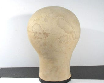 """Millinery Canvas Hat Form Wig Form 21 1/2"""" VINTAGE Display MILLINERY Canvas Mannequin Head Hat Stand Millinery Supplies Free Shipping (M79)"""