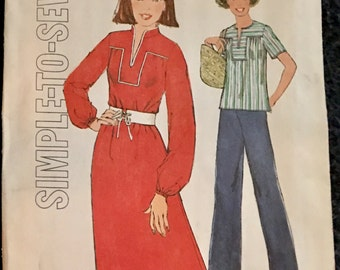 70s Simplicity 8023 Dress Top Bust 34 Size 12 Pullover Yoke with Front Slit Collar or Collarless Easy Uncut