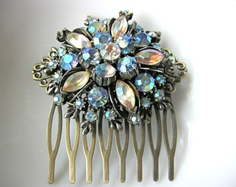 Blue and clear rhinestone brooch hair comb for bride, bridesmaid, mother of the bride, grooms mother, antique bronze comb