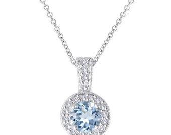 ON SALE Platinum Aquamarine and Diamonds Pendant Necklace 1.15 Carat Halo Pave Handmade