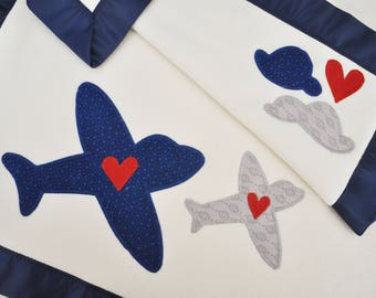 Organic Baby Blanket with Airplanes -- Navy and Gray -- Free Personalization