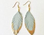 Feather Earrings, Leather Feather Earrings, Genuine Leather Feather Earrings, Large Feather Earrings, Statement Earrings, Beautiful Earrings