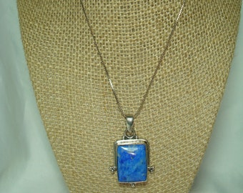 1994 925 Silver Lapis Like Stone Pendant Necklace.