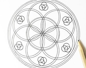 Mandala Coloring - Changing Seed of Life - Hand Drawn - Digital Download 02