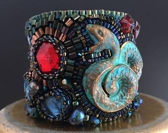 Ereshkigal's Bracelet - Sumerian, Babylonian Inspired Beaded Cuff; Vintage Crystals, Brass Serpent, Freshwater Pearls, Swarovski, Leather