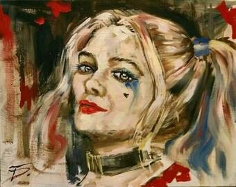 "Harley Quinn comics,print of original comic art oil painting, Harley Quinn, size 11""x14"",DC Universe, DC comics, Marvel art, comic"