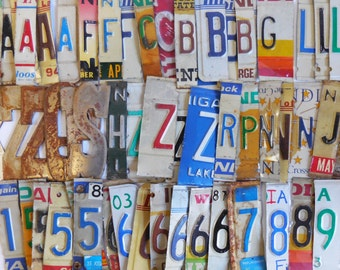 60 Vintage numbers & Letters license plate salvage numbers address apartment dates time supplies