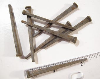 Vintage Primitive Flat Head 'Square' Nails 2 1/8 inches in Length - Shipping Included in Price