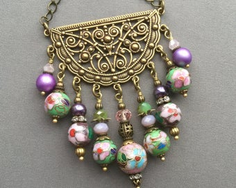 Bohemian Necklace - Chandelier Necklace - Boho Necklace - Bohemian Jewelry - Filigree Jewelry - Boho Chic - Gypsy Necklace - Beaded Necklace