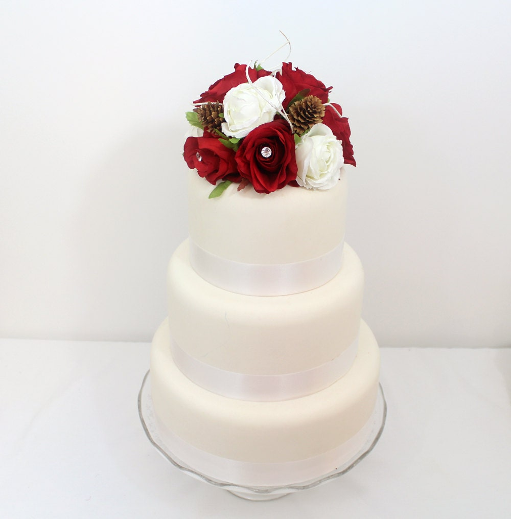 Winter Inspired Wedding Cake Topper - Red, White Rose, Silk Flower ...