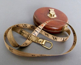 Vintage Leather Tape Measure from England - Chesterman - Sheffield - Vintage Measuring Tool - Leather and Brass Winding Tape Measure