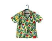 reserved. 50% half off sale // Vintage 80s Hawaiian Shirt // Aloha Republic // Boys Size 6, tropical bird pattern