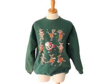 Vtg 90s Santa Reindeer Ice Skating Ugly Christmas Sweater // Holiday Sweatshirt // Women Men L Novelty Jumper