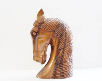 60% off sale // Vintage 60s Hand Carved Wooden Horse Head Sculpture Bust - Monkey Pod Wood, Hawaii