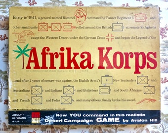 Afrika Korps - Vintage 1960s Strategy Board Game by Avalon Hill