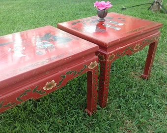 MING STYLE SIDE TABLEs / Hand Painted Asian Ming Side Tables / Pair of Vintage Asian Side Tables / Asian Chinoiserie Style Retro Daisy Girl