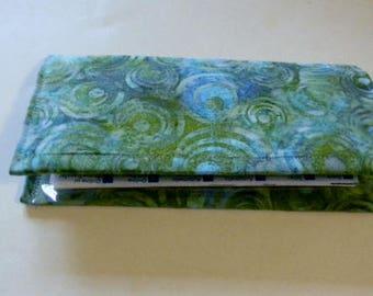 Green Circles Batik Checkbook Cover