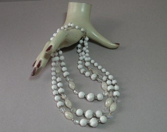 Vintage White 3 Strand Necklace