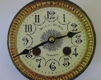 Small wall clock. Victorian clock II. Gilt clock. Replica of a ceramic Victorian clock. Antique clock. Recycled CD. CD clock.