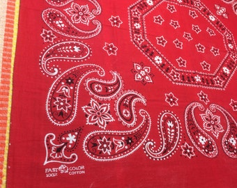 vintage 1950's Elephant Trunk Up large Red Bandana 22.5x20.75 Fast Color Hearts Dots Paisley Octagon Flowers Selvedge #64