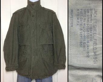 1950's Military US Army M51 Field Jacket Shell size Small cotton Korean War M-51 1952 M-1951 stamped Sigmund Eisner