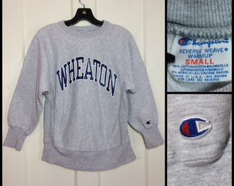 distressed 1980's Wheaton College school Ivy League Champion Reverse Weave Sweatshirt size Small Heather Gray made USA tri-blend cloth tag